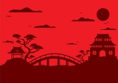 Silhouette de paysage chinois avec pagode Vecteur gratuit