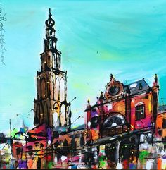 """""""Hoofdstation"""" 60 x 60 cm. Geweldige kleurenexplosie! By Erik Zwezerijnen. www.erikzwezerijnen.com"""