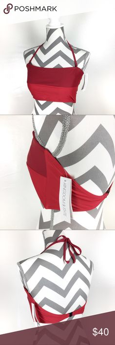 KINGDOM & STATE bandeau top red burgundy XL Sold out online! A limited number of the matching bottoms are available on the website.   See attached photo from site for sizing. Kingdom & State Swim Bikinis