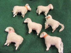 SHEEP NATIVITY Vintage Wooly Sheep wooden stick Legs PUTZ JAPAN lot of 6