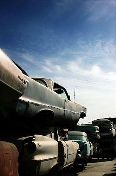 Boneyard, wrecked cars, urban, junk yard, photography, scrap metal