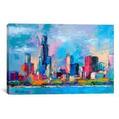 easy chicago skyline painting - Google Search