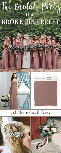 Brides to be went crazy for this stunning dusty rose inspired bridal party - the bridesmaid gowns? Many imitations but this is the actual dress! Dusty Rose Bridesmaid Dresses, Dusty Rose Dress, Bridesmaid Dress Colors, Wedding Bridesmaids, Wedding Dresses, August Wedding Colors, Color Themes For Wedding, Wedding Color Palettes, Bridal Party Color Schemes