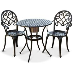 Lellman Cast Aluminum Outdoor Bistro Set ($339) ❤ liked on Polyvore featuring home, outdoors, patio furniture, outdoor patio sets, copper, outside bistro set, outdoor furniture, aluminum bistro set and outdoor garden furniture