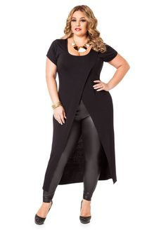 Shop women's plus size tops, plus size shirts, sexy sequin tops & more at Ashley Stewart. Find plus size tops from dressy to crops, all fit to flatter curves! Plus Size Clothing Stores, Womens Clothing Stores, Plus Size Womens Clothing, Plus Size Fashion, Clothes For Women, Curvy Outfits, Plus Size Outfits, Leather Pants Outfit, Asymmetrical Sweater