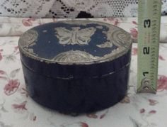 Vintage 1928 Lucretia Vanderbilt Butterfly Tin Dresser Top Powder Box Manufactured by Scovill Manufacturing Company via Etsy