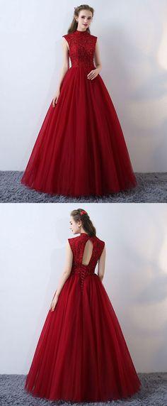 Burgundy high neck lace long prom dress, formal dress
