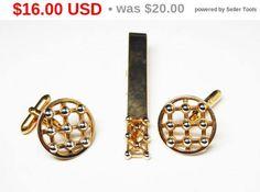 Spring Sale Swank Goldtone CuffLinks & Tie Bar Clip - Mid Century Wicker Mens Jewelry - Cuff Link and Tie Clip Set - Vintage 1950's - 1960's