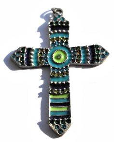 Large Tribal Style Turquoise Blue and Lime Green by GodivaJewels, $2.95