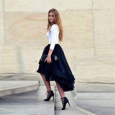 057b49dc40a High Low Tiered Maxi Woman Tulle Skirts Solid Natural Color Girl Gown Tutu  Skirt Women Faldas