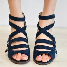 Women Multi-Strap Heeled Back Zipper Sandals Spring Sandals, Blue Sandals, Heeled Sandals, Giuseppe Zanotti Heels, Thick Heels, Nike Shoes Outlet, Fall Shoes, Fashion Heels, Health