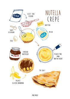 Home Cooking Tips - Cooking Recipes Salmon - Cooking With Kids Desert - Cooking Images Cartoon - Cooking Quotes Art - Cute Food, Yummy Food, Recipe Drawing, Nutella Crepes, Food Doodles, Breakfast And Brunch, Food Sketch, Cooking Quotes, Food Painting