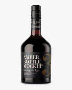 Dark Amber Glass Bottle Mockup Preview