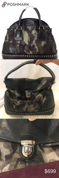 0bb6900430 Prada Camouflage Nylon And Calf Leather Bag Prada Camo Nylon And calf  Leather skin bag with