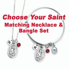 2dca313c326 Confirmation Gift for Girls Teens or Women - Choose Your Catholic Saint -  Personalized Expandable Bangle Bracelet and Necklace Set