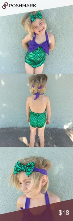 Mermaid One Piece Bathing suit Purple and green one piece shiny mermaid suit with matching headband. Halter style. New with tags! Model is wearing wearing a size 5t (not available) Swim One Piece