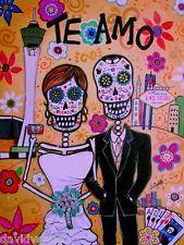 Pristine Te Amo Bride and Groom in Vegas Day of the Dead 8 x 10 Canvas Print