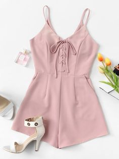 Shop Lace Up Zip Back Romper online. ROMWE offers Lace Up Zip Back Romper & more to fit your fashionable needs. Cute Summer Outfits, New Outfits, Casual Outfits, Cute Outfits, Casual Clothes, Girls Fashion Clothes, Girl Fashion, Fashion Outfits, Clothes For Women