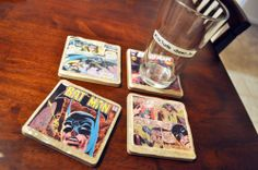 Comic book coasters - I would use other photos; not into comic books - but love the idea