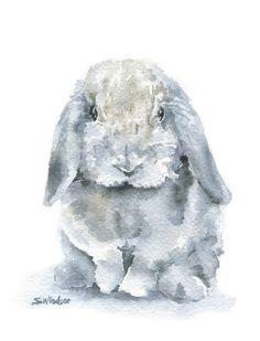 Mini Lop Gray Rabbit Watercolor Painting Art Print