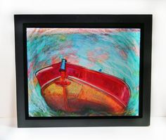 Arrival 10x12 inch Framed 8x10 inch image by dahliahousestudios #Red boat #Fishing #Art $99