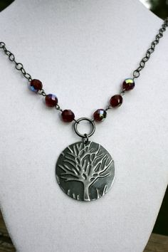 Spooky Tree Embossed Pendant Necklace