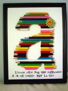 Now I know what to do with all the used colored pencils from the kids' old school supplies. monogram letter made out of colored pencils Fun Crafts, Diy And Crafts, Crafts For Kids, Arts And Crafts, Cute Gifts, Diy Gifts, Handmade Gifts, Diy Projects To Try, Craft Projects