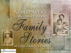 "Download this PowerPoint deck from GenealogyBank's recent webinar tutorial to see several examples of the types of articles that you can find in old newspapers that can be used to trace your family tree and uncover your family history. Watch the webinar video recording ""How To Find Your Family Stories in Newspapers"" for an expert-led walk-through of the PPT slides on YouTube at http://www.youtube.com/watch?v=rS3togVfSbA."