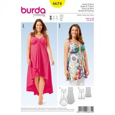 Burda 6674 - Gedrapeerde, high-low jurk en tuniek
