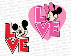 Cute Mouse Ears SVG Files, Cute Mouse Ears Love DXF Cutting Files, Mickey Minnie Mouse Love Quotes Word Cuttable SVG Files, Instant Download
