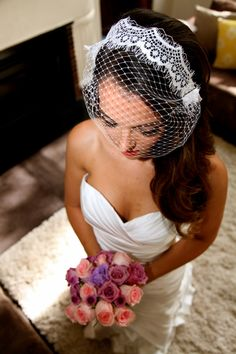 Birdcage Veil, Vintage Wedding/Bridal Veil With Lace Trim, White 1940s Style - Vivienne by LacedUpWithString on Etsy
