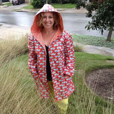 """Amy Butler Raincoat pattern, Robert Kaufman """"Roughing It"""" laminated fabric with contrast cotton lining"""
