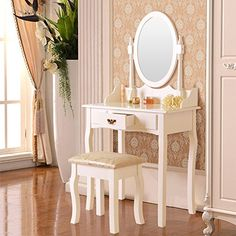 Every girl wishes to have a glamorous #dressing table with all her jewelry and makeup, let it realize your princess dream! A stunning white dressing table with ...