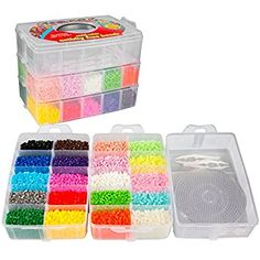 Fuse Beads - 20 colors Glow in the Dark), Tweezers, Peg Boards, Ironing Paper, Case - Works with Perler Beads Diy Perler Bead Bracelet, Diy Perler Beads, Perler Beads Pegboard, Easy Perler Bead Patterns, Fuse Bead Patterns, Beading Tools, Beading Supplies, Jewelry Supplies, Paper Case