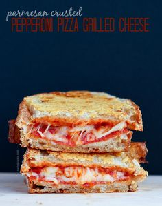 Pepperoni Pizza Grilled Cheese with a crispy parmesan cheese crust - so good you'll never go back to plain grilled cheese!