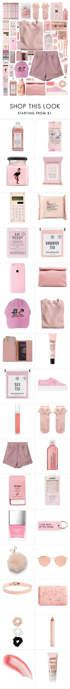 """""""soft baby"""" by gentlyharry ❤ liked on Polyvore featuring Hello Kitty, Williams-Sonoma, Josie Maran, ASOS, Topshop, The Body Shop, Love 21, Marie Turnor, H&M and Royce Leather"""