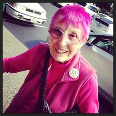"""My new 88 year old friend here at the Whole Foods in Sebastopol , Sonoma County Her advice-""""don't wait until you are 88 to do something fun with your hair!"""" image by Irene Turner"""