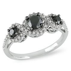 1 CT. T.W. Enhanced Black and White Diamond Three Stone Frame Engagement Ring in 10K White Gold - Zales