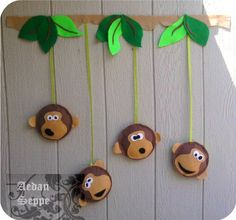 Cute Giant Monkey Bow window decor or wall art - Love the monkey faces - can do the ..No evil monkeys