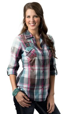 Roar® Women's Totem Turquoise, Pink & Black Plaid w/ Embroidery & Rhinestones Long Sleeve Western Shirt | Cavender's Boot City