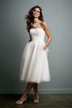Galina, exclusively at David's Bridal, Tea Length Dotted Organza Wedding Gown Style WG3514