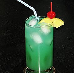 Bikini Blues (1 oz. Malibu Coconut Rum 1 oz. Pineapple Rum .5 oz. Blue Curacao 4 oz. Pineapple Juice 2 oz. 7-Up)