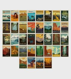 American National Parks Vintage-Style Postcard Set | Explore America's great national parks with this vintage trave... | Greeting Cards