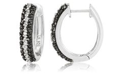 ¼ Carat IJ Color I1-I2 Clarity Black and White Diamond Sterling Silver Hoop Earrings