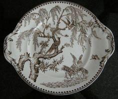 vintage brown exotic transferware | Antique Brown Transferware Plate EXOTIC BIRDS