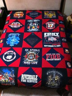 ~ firefighter tshirt quilt ~ made from well loved shirts ~ makes a warm and soft throw ~ this one has some nice old quilt patterns ~ red and blue color scheme would fit into a Union Jack office ~