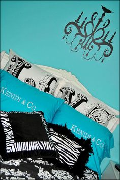 Angelica Grace Designs: KENIDI'S BEDROOM Love the black whit and turquoise with Audrey...Abbie's new room?  Yes I think so!