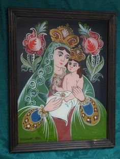 Mother And Child, Wood Art, Folk, Frame, Glass, Diy, Painting, Decor, Ornaments