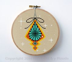 Mid Century Modern Christmas Tree Decoration Cross Stitch Pattern Instant Download