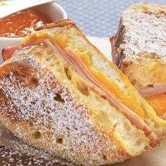 This sweet-savory Bisquick® mix battered and toasted bread, ham and cheese sandwich makes a hearty breakfast or light brunch